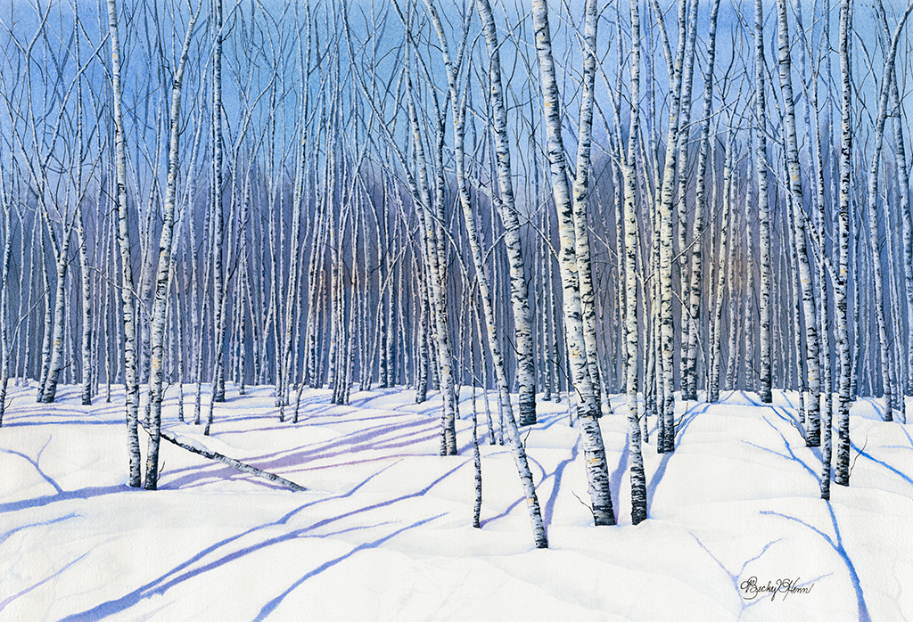 "Winter Birch 21""x15"" Becky's woods"
